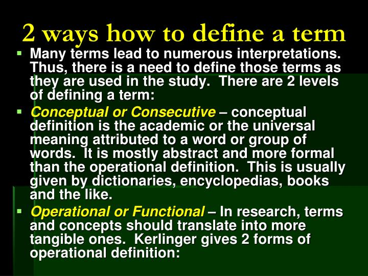 2 ways how to define a term