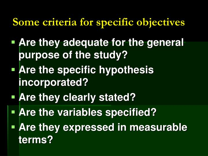 Some criteria for specific objectives