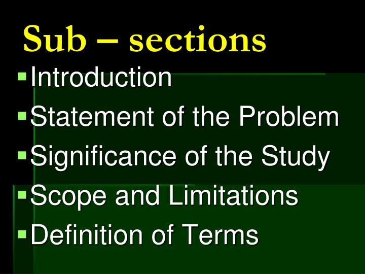 Sub – sections