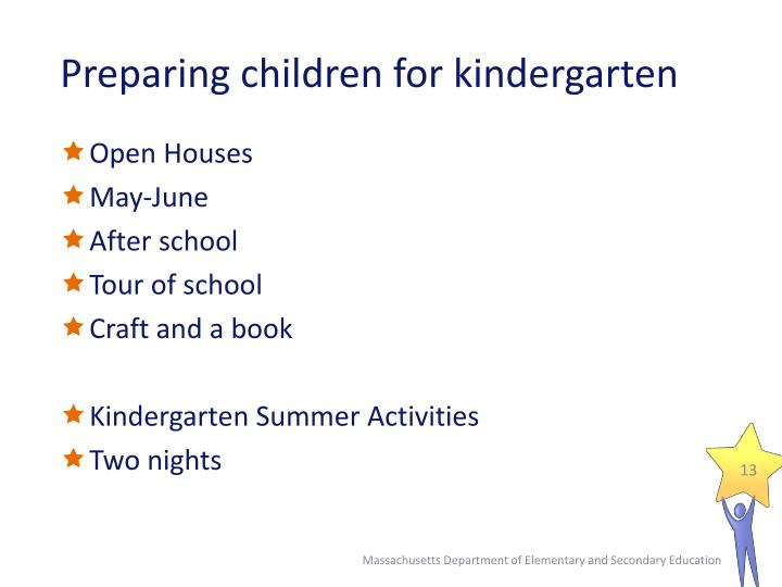 Preparing children for kindergarten
