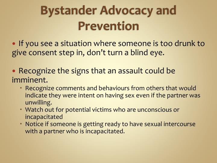 Bystander Advocacy and Prevention