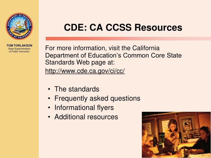 CDE: CA CCSS Resources