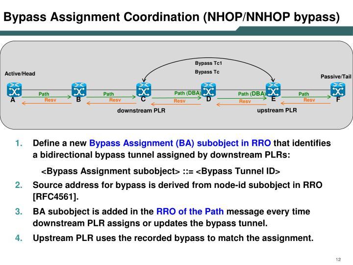 Bypass Assignment Coordination (NHOP/NNHOP bypass)