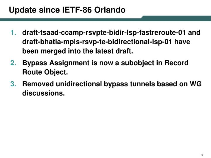 Update since IETF-86 Orlando