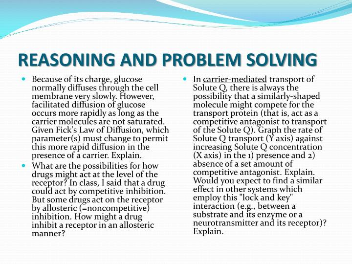 REASONING AND PROBLEM SOLVING