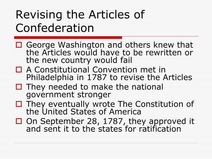 Revising the Articles of Confederation