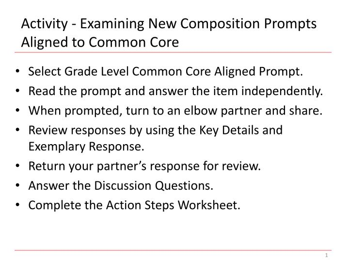 Activity - Examining New Composition Prompts Aligned to Common Core