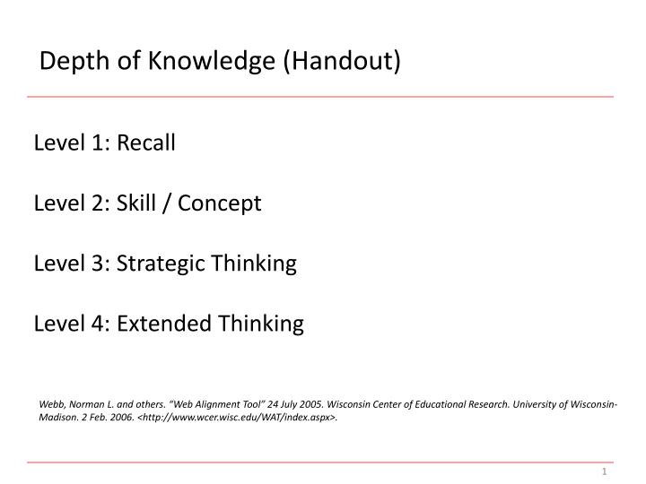 Depth of Knowledge (Handout)