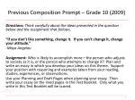 previous composition prompt grade 10 2009