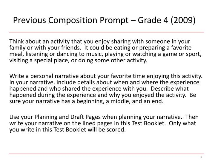 Previous Composition Prompt – Grade 4 (2009)