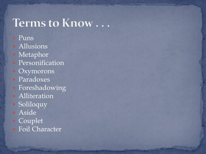 Terms to Know . . .