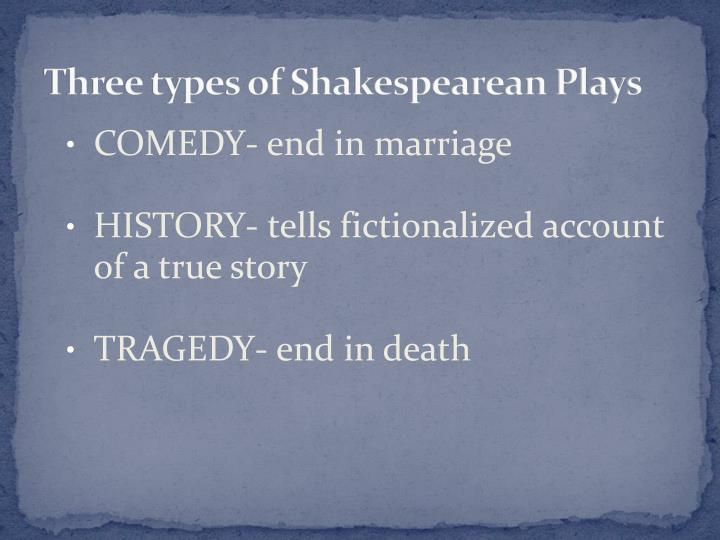 Three types of Shakespearean Plays