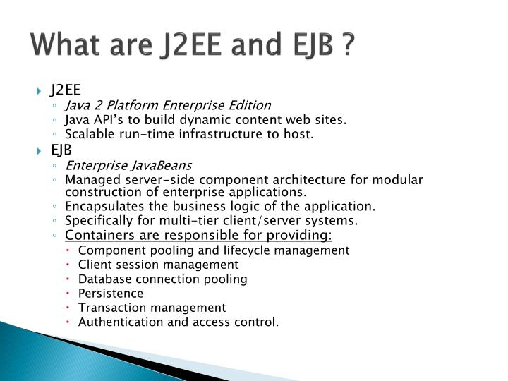 What are j2ee and ejb