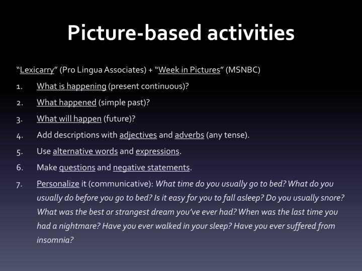Picture-based activities