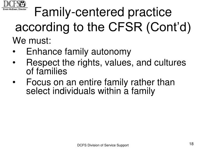 Family-centered practice according to the CFSR (Cont'd)