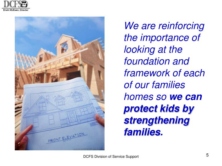 We are reinforcing the importance of looking at the foundation and framework of each of our families homes so