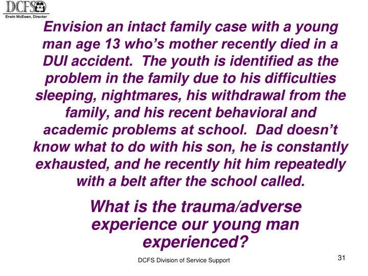 Envision an intact family case with a young man age 13 who's mother recently died in a DUI accident.  The youth is identified as the problem in the family due to his difficulties sleeping, nightmares, his withdrawal from the family, and his recent behavioral and academic problems at school.  Dad doesn't know what to do with his son, he is constantly exhausted, and he recently hit him repeatedly with a belt after the school called.