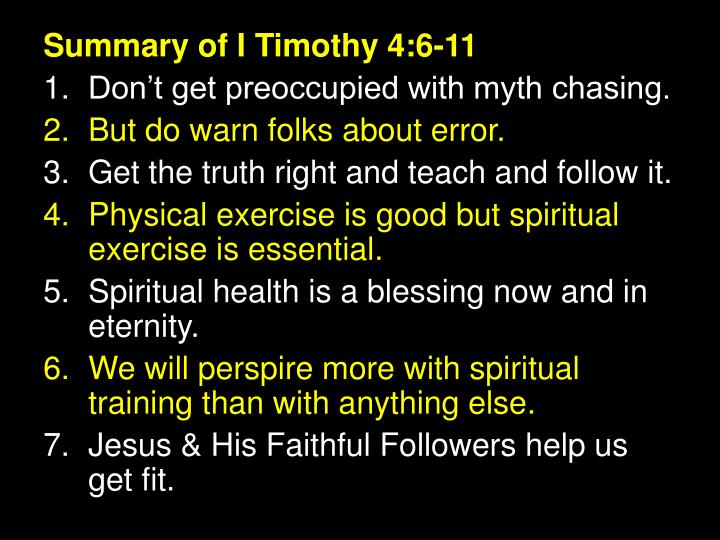 Summary of I Timothy 4:6-11