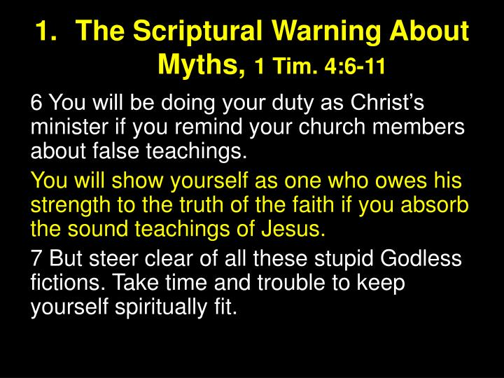 The Scriptural Warning About Myths,
