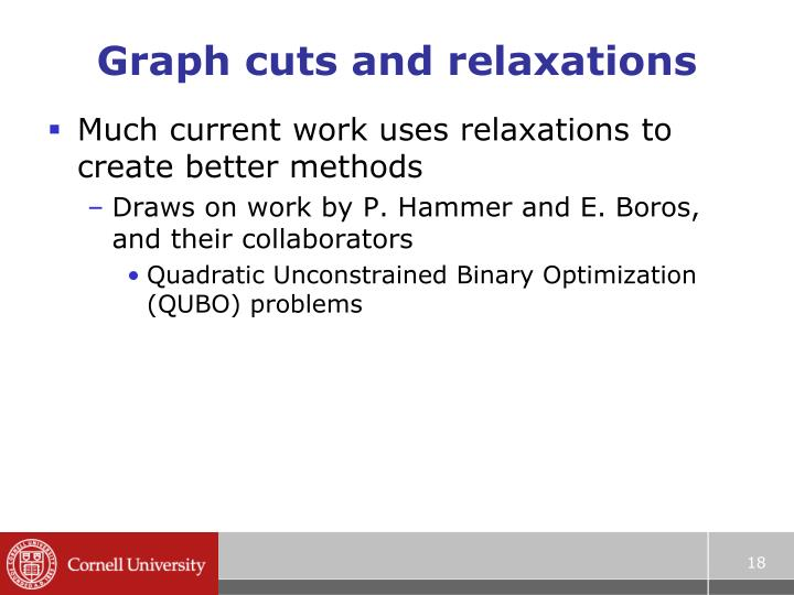 Graph cuts and relaxations