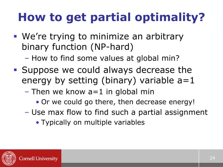 How to get partial optimality?