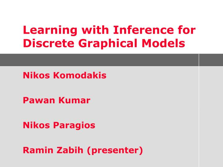 Learning with Inference for Discrete Graphical Models