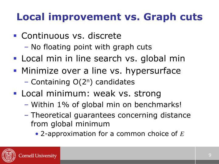 Local improvement vs. Graph cuts