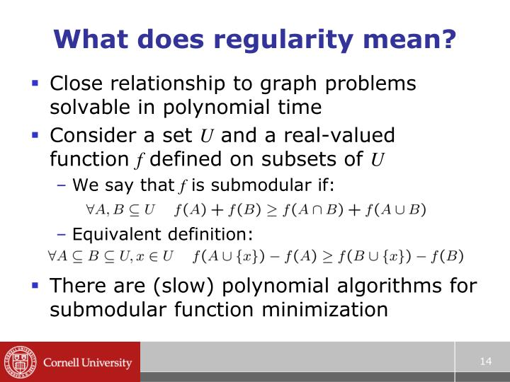 What does regularity mean?