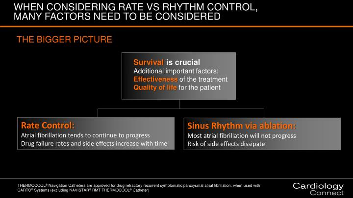 WHEN CONSIDERING RATE VS RHYTHM CONTROL, MANY FACTORS NEED TO BE CONSIDERED