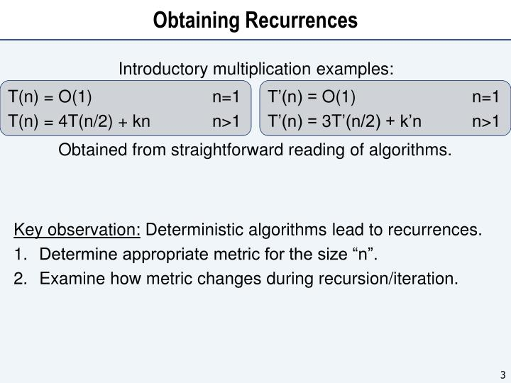Obtaining recurrences