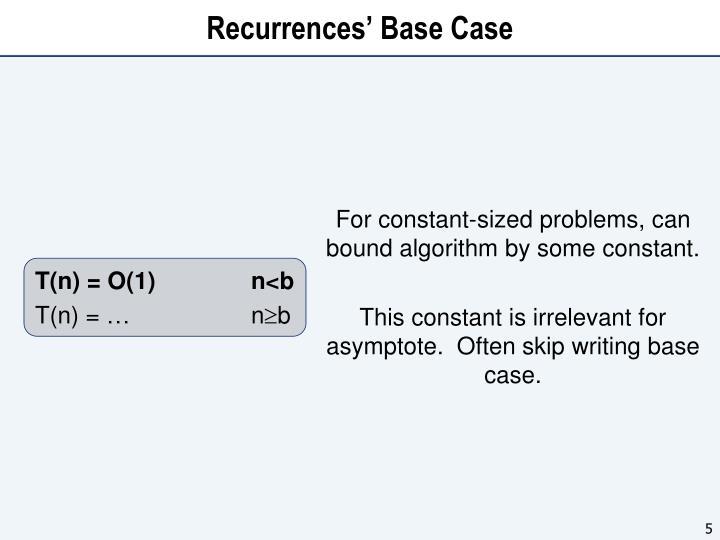 Recurrences' Base Case