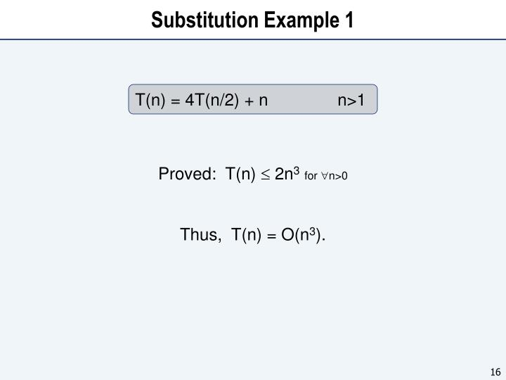 Substitution Example 1