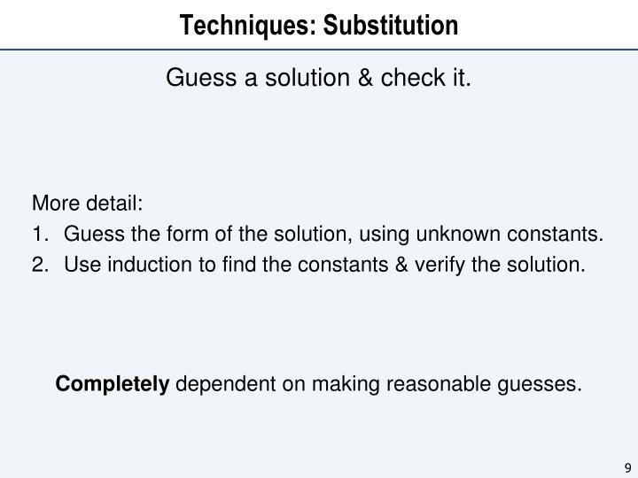 Techniques: Substitution