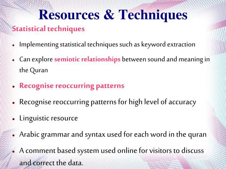 Resources & Techniques