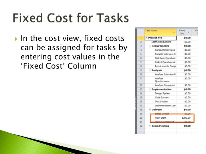 Fixed Cost for Tasks