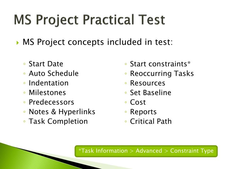MS Project Practical Test