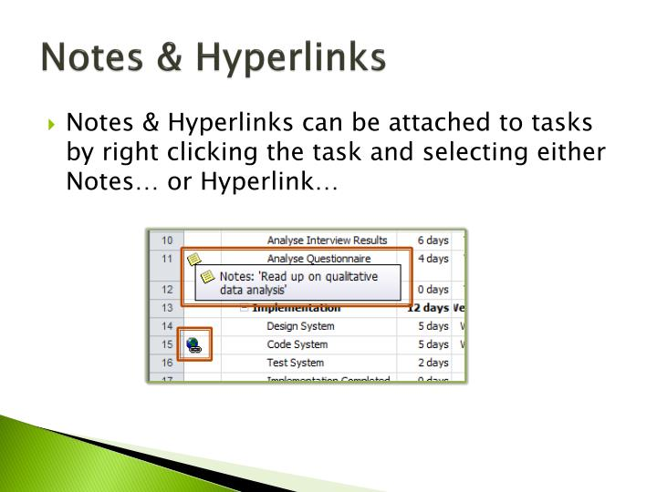Notes & Hyperlinks