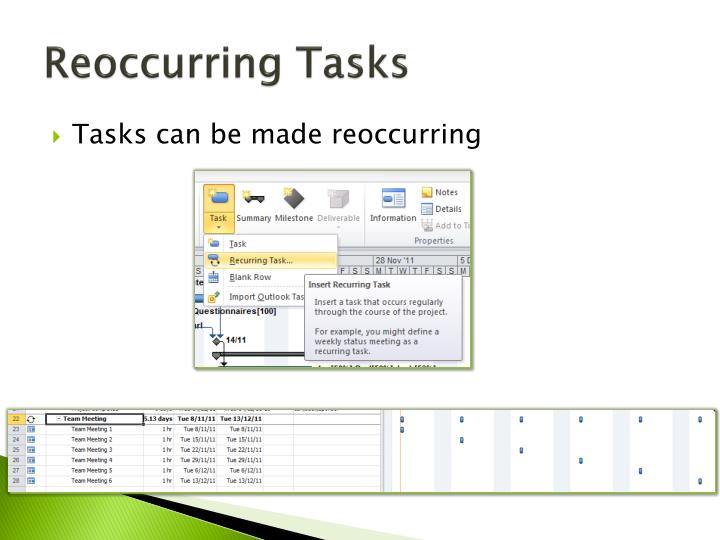 Reoccurring Tasks