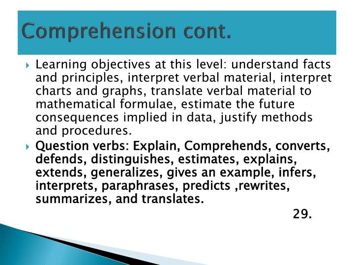 Comprehension cont.
