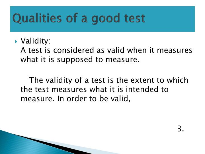 Qualities of a good test