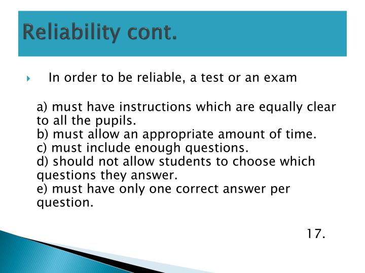 Reliability cont.