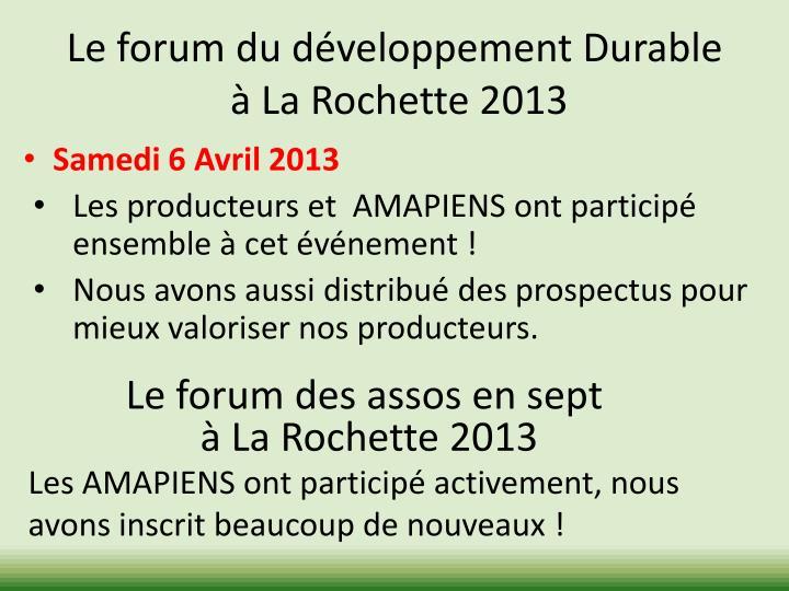 Le forum du développement Durable