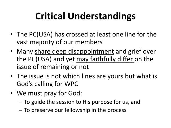 Critical Understandings