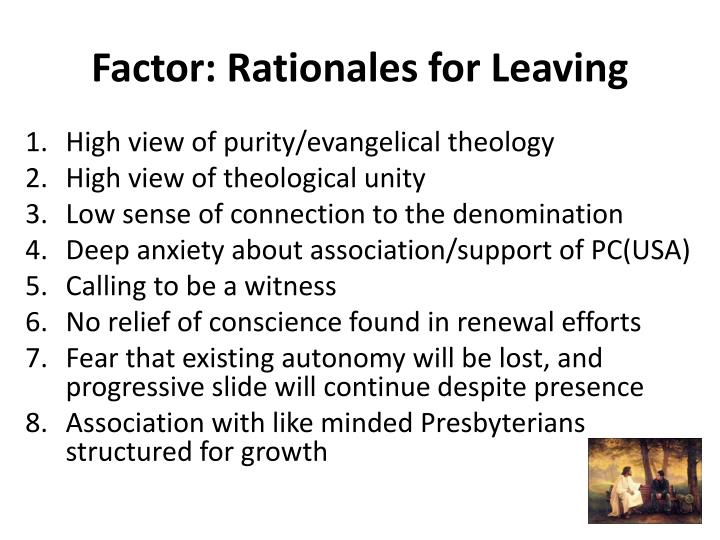 Factor: Rationales for Leaving