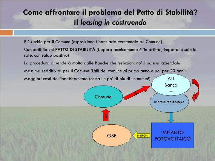 Come affrontare il problema del Patto di Stabilità?