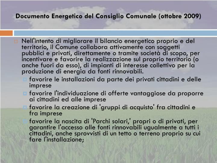 Documento Energetico del Consiglio Comunale (ottobre 2009)