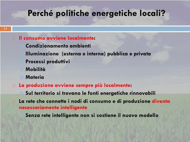 Perché politiche energetiche locali?