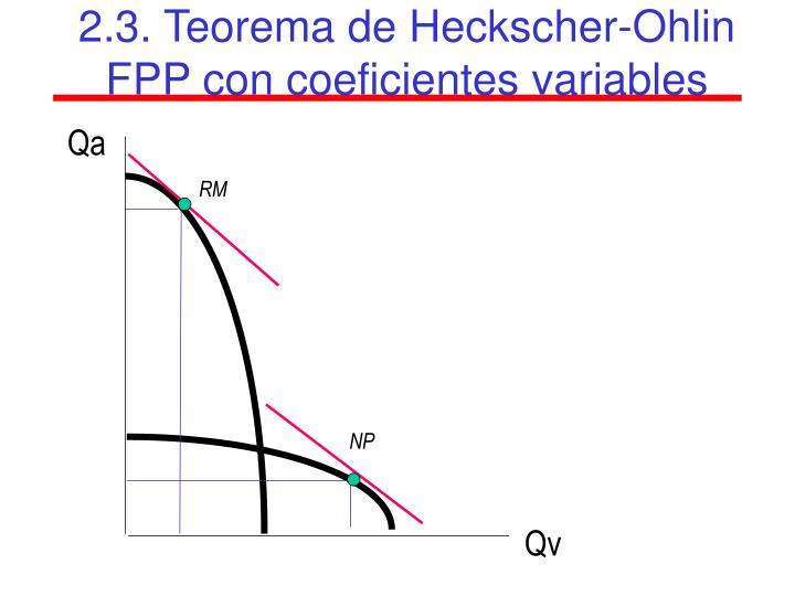2.3. Teorema de Heckscher-Ohlin FPP con coeficientes variables
