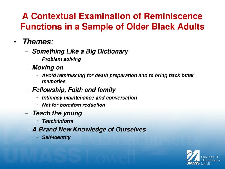 A Contextual Examination of Reminiscence Functions in a Sample of Older Black Adults