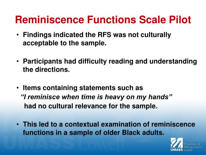 Reminiscence Functions Scale Pilot